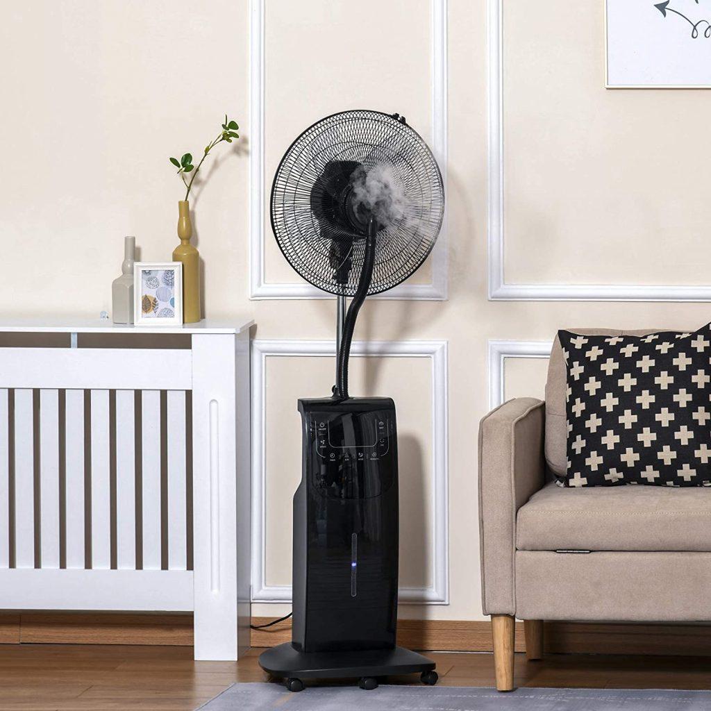 Ventilateur brumisateur sur roulettes - oscillant silencieux 90 W avec télécommande